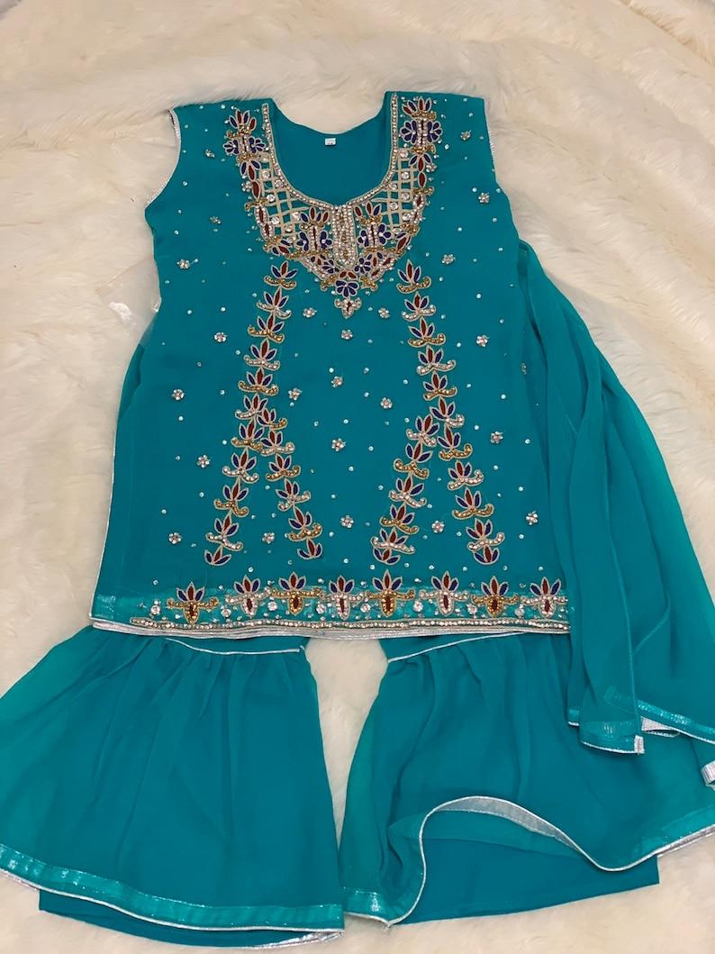 Girls 3-pc Size 4 Seagreen Chiffon Embroidery Shirt and Gharara Set