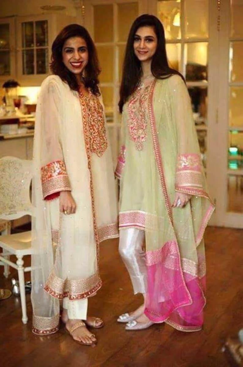 830cdb06ed Pakistani Suit Gotta Work Net Kurta with Cigarette Pants | Etsy