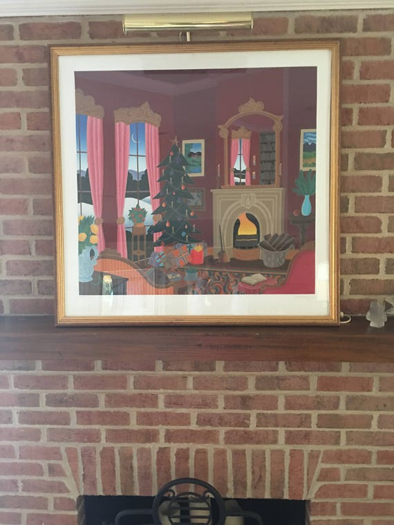 Christmas In Connecticut House.Thomas Mcknight Serigraph Christmas In Connecticut Signed And Numbered Room Scene
