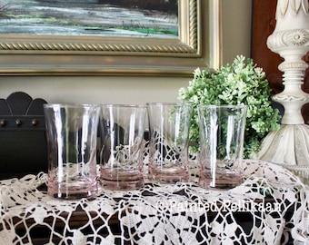 Vintage Juice Glasses, Pink Juice Glasses, Swirl Juice Glasses