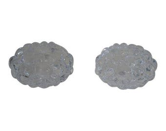 Orrefors Sweden Raspberry Votive Crystal Candle Holders - A Pair