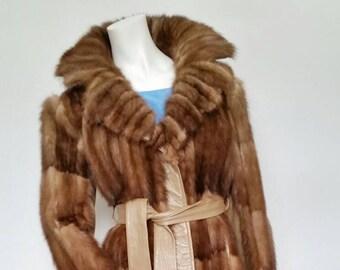 Sale*** Equisite Mink Leather Jacket Vintage Ladies Fur Coat