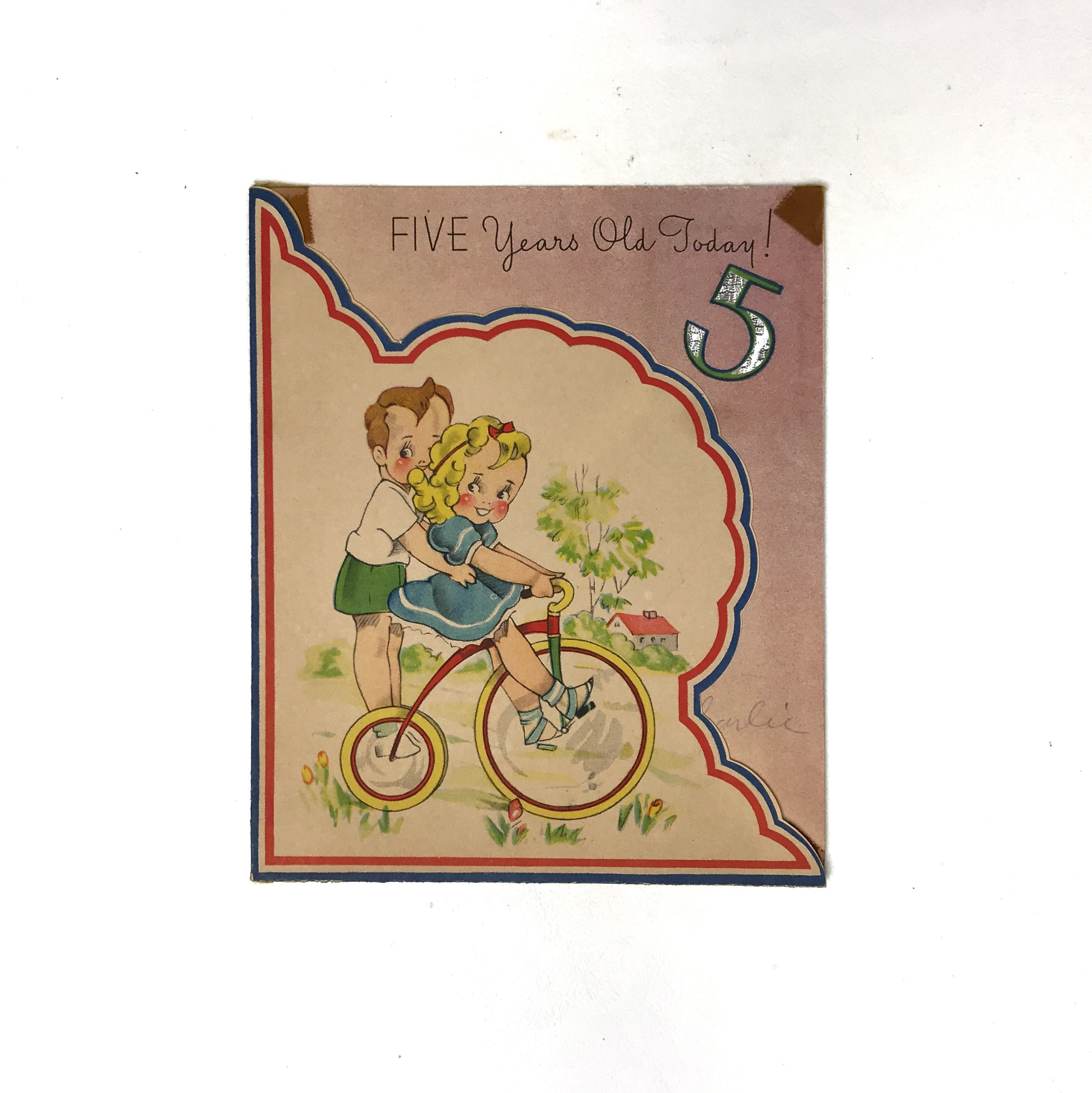 Vintage Birthday Card Five Year Old Little Boy Girl Riding Bike Bicycle Trike Happy Cake