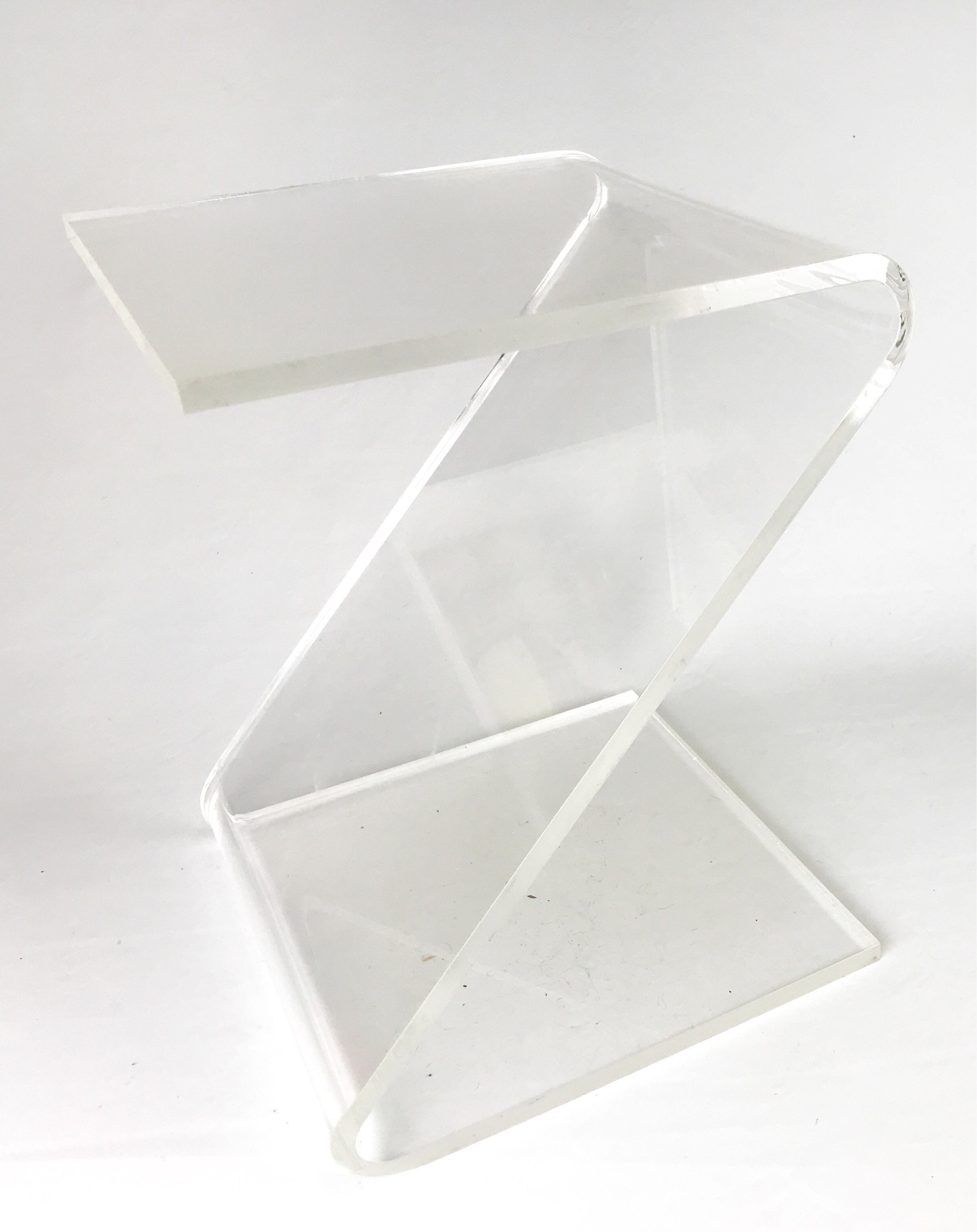 Vintage Hollywood Regency Z Side Table Lucite Plexiglass Acrylic Clear