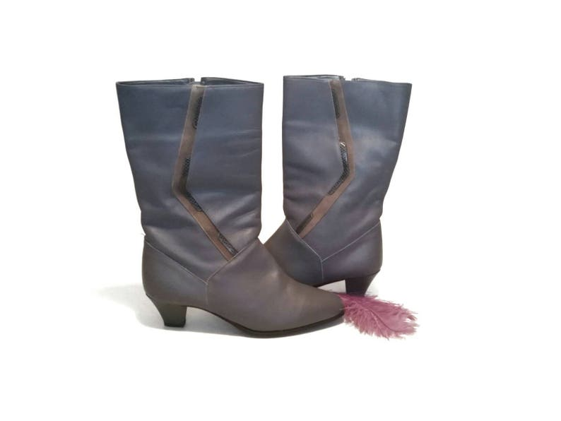 Vintage Winter Fall Ankle Boots Light Purple Grey Ladies Natrualizer Heels Country Dance Church Pin-up Outfit