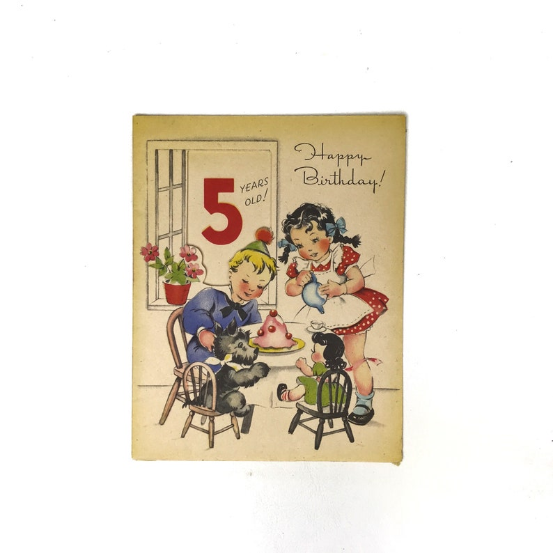 Vintage Birthday Card Five Year Old Little Boy Girl Tea Party