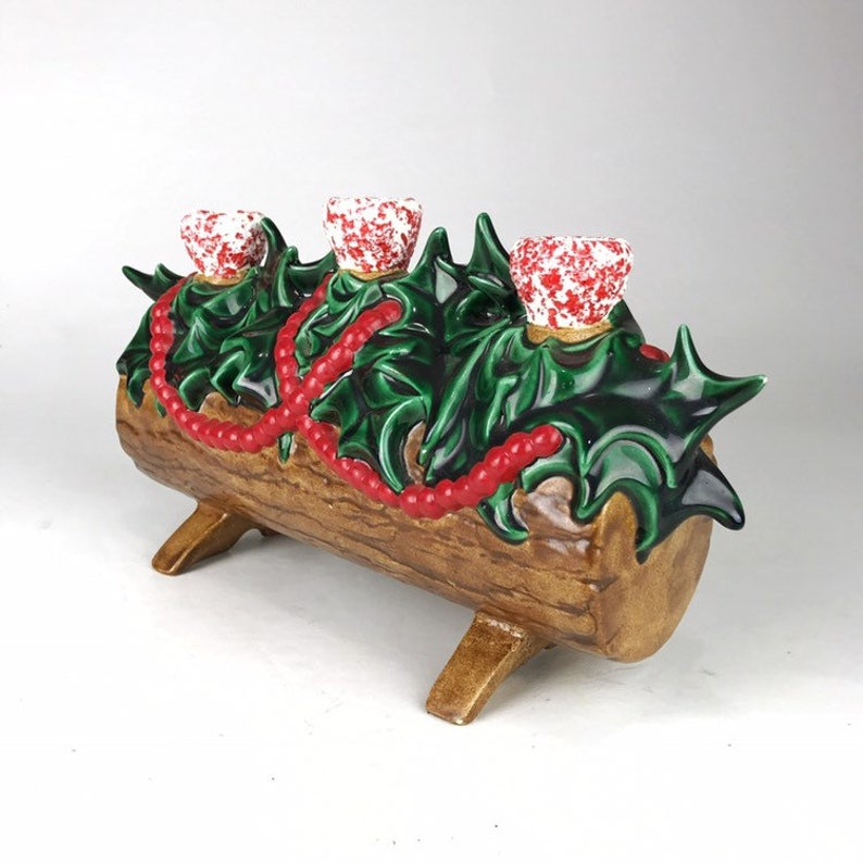 Vintage Festive Green Ceramic Christmas Yule Log Candle Holder Red Holly Berries Fireplace Mantle Noel Holiday Decor
