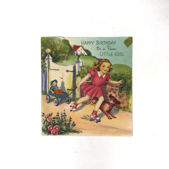 Vintage Birthday Card Five Year Old Little Girl Puppy Blue