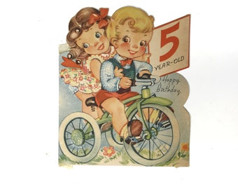 Vintage Birthday Card Five Year Old Little Boy Girl Riding Bike Bicycle Trike Happy Birthday Cake