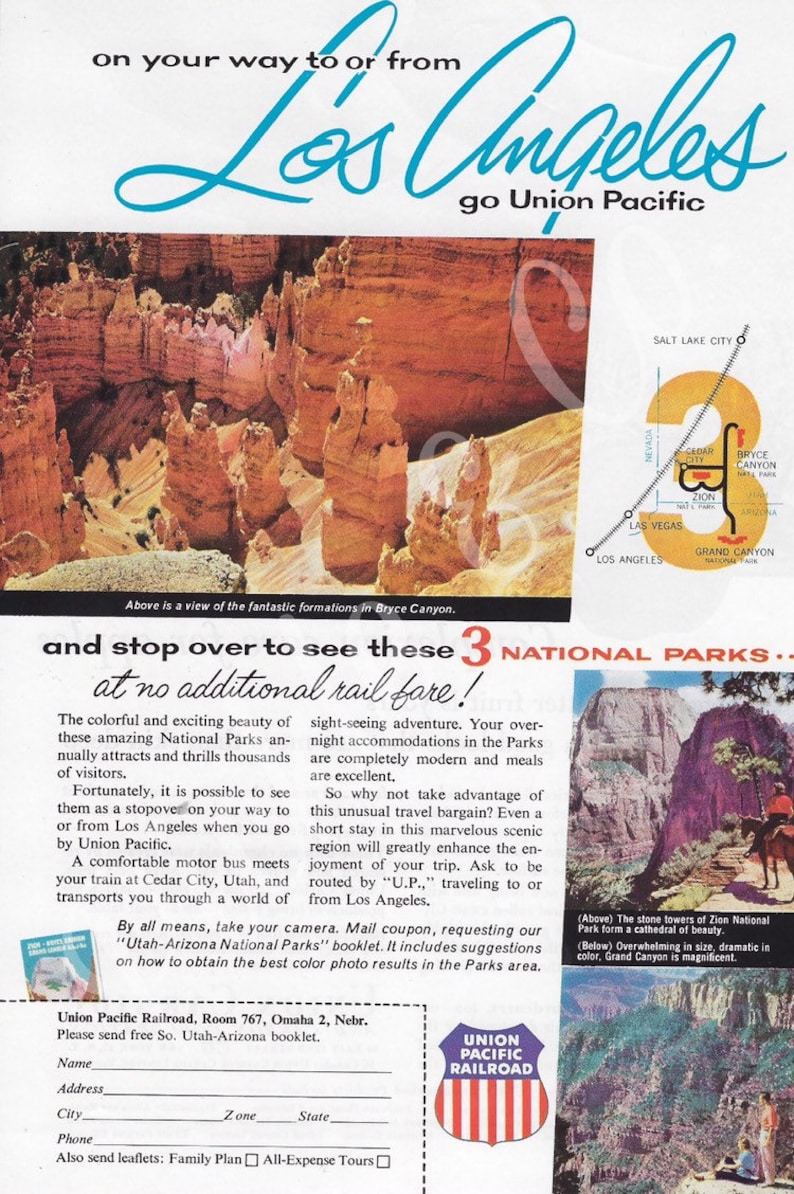 1950's UNION PACIFIC Railroad Vintage Print Ad Family Vacation Los Angeles  National Parks Bryce Canyon