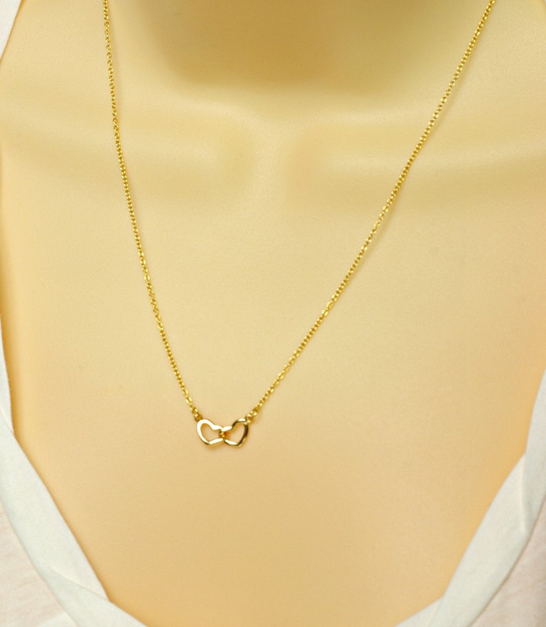 Sterling Silver Gold Vermeil Valentines Day Jewelry Lovers Necklace Two Hearts Necklace Valentines Day Gift Interlocking Heart Necklace