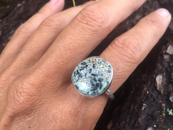 Number 8 Turquoise Ring with urchin textured band by Barnacle Love size 8