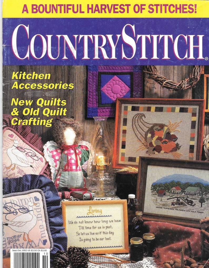 Country Stitch, Stitching Magazine, 90s Cross Stitch Magazine, Amish  Miniatures, Quilt Angel, Harvest, Tennesse Molasses, Vintage Magazine