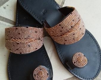 b06d2b90716 Mia - African Kenyan Real Leather Handmade Beaded Sandals