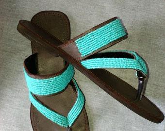 70943b6c3c81c Azure - African Kenyan Real Leather Handmade Beaded Wedge or Flats