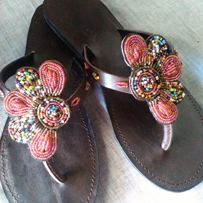 13a767e2a07e Arabesque African Kenyan Handmade Leather Beaded Sandals