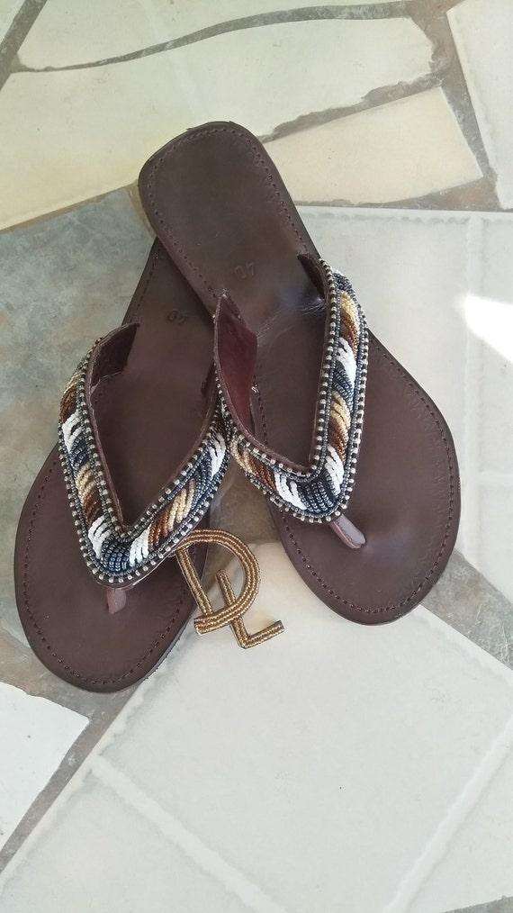 b4116926a82a Moja Handmade African Kenyan Real Leather Beaded Sandals