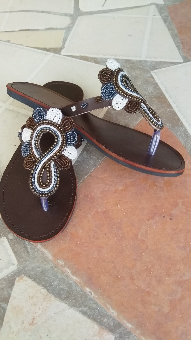 b2ff9ababa9d Bado African Kenyan Real Leather Handmade Beaded Sandals