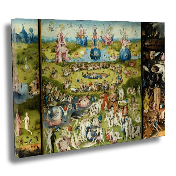 Hieronymus Bosch , The Garden of Earthly Delights Box Canvas Print , Giclee  Poster Wall Art