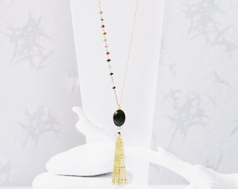 Boho Chic Luxurious Gold Black Onyx Tassel Necklace with Asymmetric Faceted Tourmaline Rondelle Gemstones in Unique Design