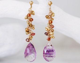 Unique Design Lilac Rutilated Quartz Sapphire and Gold Karen Hill Tribe Vermeil Nugget Handmade Earrings for Ladies