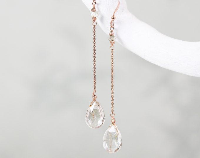 Featured listing image: Elegant Rose Gold Labradorite Rutilated Quartz Dangle Chain Earrings for Ladies Handmade in Paris April Birthstone Gift Idea