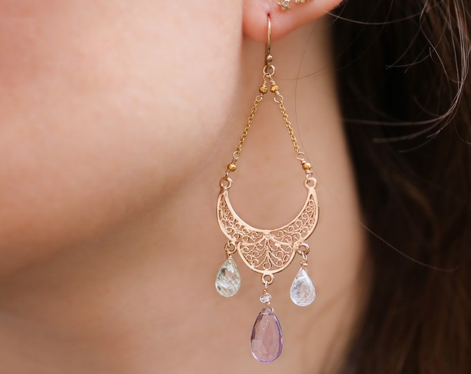 Featured listing image: Unique Modern Chandelier Aquamarine Amethyst Gold Chain Luxe Earrings March Birthstone Gift Ideas
