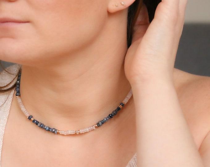 Featured listing image: Rose Quartz & Sapphire Necklace