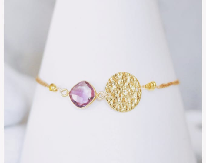 Featured listing image: Handmade Amethyst Gold Hammered Disc Bracelet Unique Design February Birthstone Gift Idea for Ladies