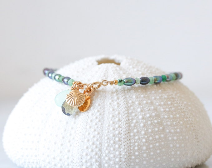 Featured listing image: Emerald & Pearl Gold Bracelet with Charms