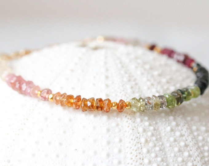 Featured listing image: Multicoloured Tourmaline & Gold Bracelet