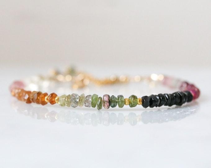 Featured listing image: Multicoloured Tourmaline & Gold Bracelet