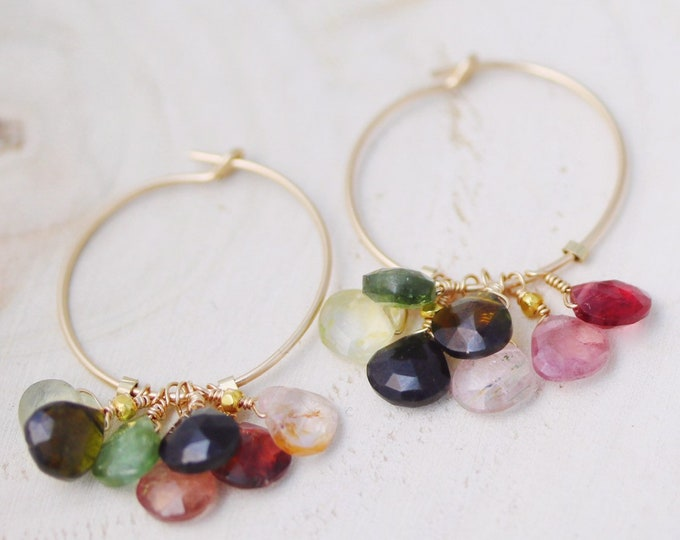Featured listing image: Unique Gold and Pink and Green Natural Faceted Teardrop Tourmaline Drop Hoop Earrings Handmade in Paris