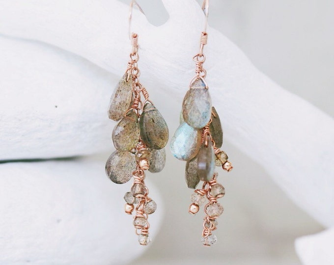 Featured listing image: Handmade Rose Gold Faceted Labradorite Teardrop Cluster Rainfall Earrings in Rose Gold Gift Idea for Ladies
