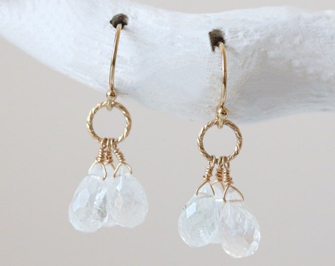 Featured listing image: Faceted Clear Aquamarine Gold Filled Textured Hoop Drop Earrings