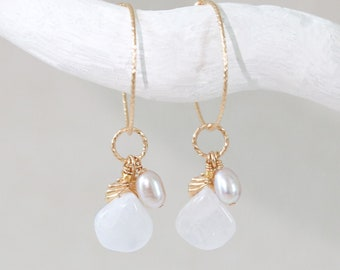 Natural Moonstone and Pearl Sparkling Textured Gold Hoops with Gold Shell Charm June Birthstone Gift Idea for Women