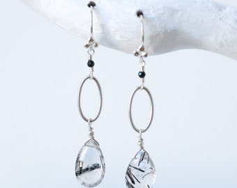 Solid Silver Hand Cut Faceted Rutilated Quartz Drop Earrings Modern Design Handmade in France Gift Idea for Girls