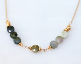 Beautiful Gold Ombré Tourmaline Karen Hill Tribe Faceted Natural Gemstone Necklace October Birthstone Gift Idea for Girls