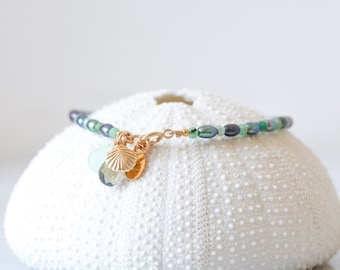 Natural Emerald and Peacock Pearl Gold Karen Hill Tribe Nugget Bracelet with Labradorite, Prehnite & Gold Shell Charm Gift Idea for Women