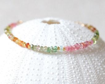 Faceted Natural Tourmaline and Gold Karen Hill Tribe Bead Adjustable Bracelet October Birthstone Gift Idea for Women