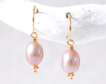 Pink Freshwater Pearl Karen Hill Gold Vermeil Huggie Hoop Earrings Wedding Jewellery June Birthstone Gift Idea for Women