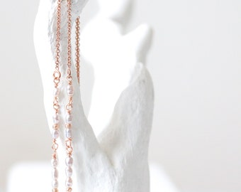 Handmade Freshwater Pearl Threader Earrings June Birthstone Unique Gift Idea For Girls in Gold Fill, Rose Gold Fill or Sterling Silver