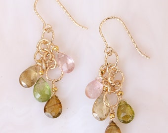 Unique Hammered Gold Links with Multicoloured Tourmaline Faceted Teardrop Gemstone Earrings October Birthstone Gift Idea for Girls