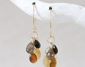 Handmade Faceted Gemstone Cluster Modern Earwire Gold Earrings with Tourmaline & Quartz October Birthstone Gift Idea for Women