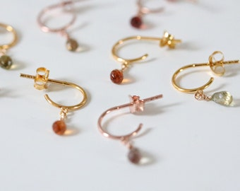 Dainty Multicoloured Teardrop Sapphire Huggie Hoops in Rose or Yellow Gold Vermeil Unique Stocking Filler Christmas Gift Idea for Ladies