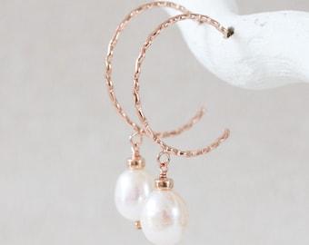 White Freshwater Pearl Karen Hill Rose Gold Vermeil Hammered Hoop Earrings Wedding Jewellery June Birthstone Gift Idea for Women