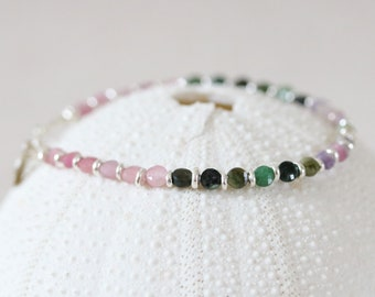 Stunning Watermelon Tourmaline Karen Hill Tribe Solid Silver Faceted Mini Coin Bracelet October Birthstone Gift Idea for Girls