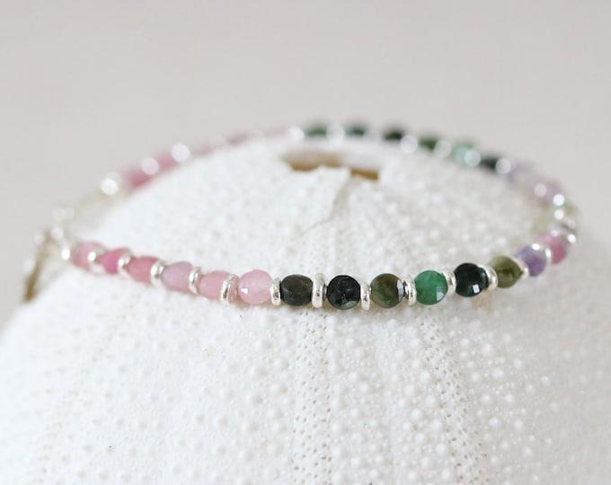 Featured listing image: Watermelon Tourmaline Mini Coin Bracelet