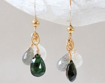 Dainty Tourmaline Quartz Earrings Gold Links Faceted Teardrop Gemstone October Birthstone Gift Idea for Girls