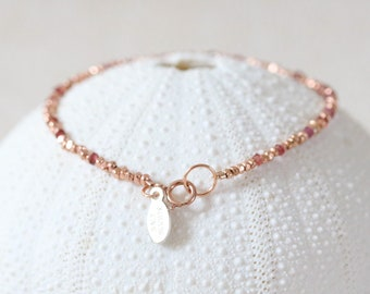 Unique Karen Hill Tribe Rose Gold Vermeil Nugget Bead and Faceted Sapphire Stacking Bracelet Gift Idea for Women Handmade in Paris